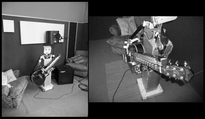 robot MecWilly suona la chitarra
